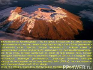 Восхождение на Килиманджаро – это не просто путешествие на самую высокую точку к