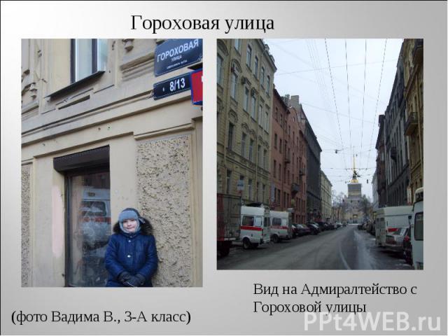 Гороховая улица (фото Вадима В., 3-А класс) Вид на Адмиралтейство с Гороховой улицы