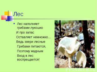 Лес Лес наполняет грибами лукошко И про запас Оставляет немножко... Ведь звери л
