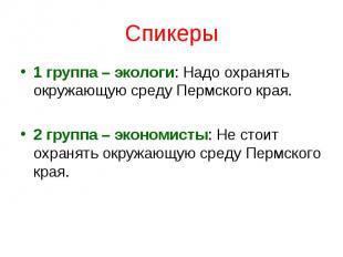 Спикеры1 группа – экологи: Надо охранять окружающую среду Пермского края. 2 груп