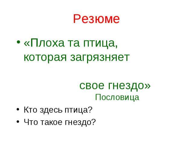 Резюме «Плоха та птица, которая загрязняет свое гнездо» Пословица Кто здесь птица? Что такое гнездо?