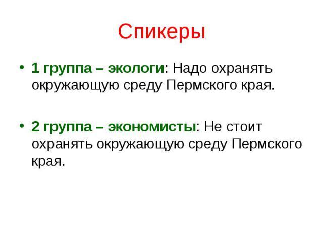 Спикеры1 группа – экологи: Надо охранять окружающую среду Пермского края. 2 группа – экономисты: Не стоит охранять окружающую среду Пермского края.
