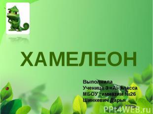 Хамелеон Выполнила Ученица 3 «А» класса МБОУ гимназии №26 Шинкевич Дарья