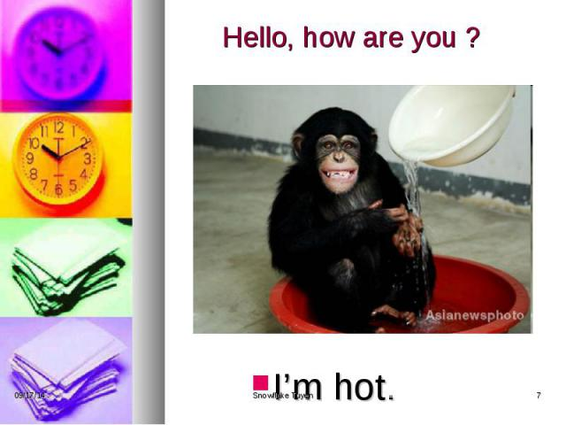 Hello, how are you ? I'm hot.