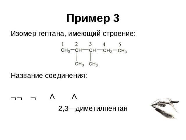 Пример 3 Изомер гептана, имеющий строение: Название соединения: ¬¬ ¬ ^ ^ 2,3—диметилпентан