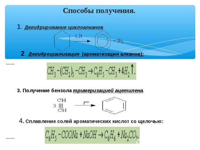 Способы получения. 1. Дегидрирование циклоалканов. 2. Дегидроциклизация (ароматизация алканов): 3. Получение бензола тримеризацией ацетилена. 4. Сплавление солей ароматических кислот со щелочью: