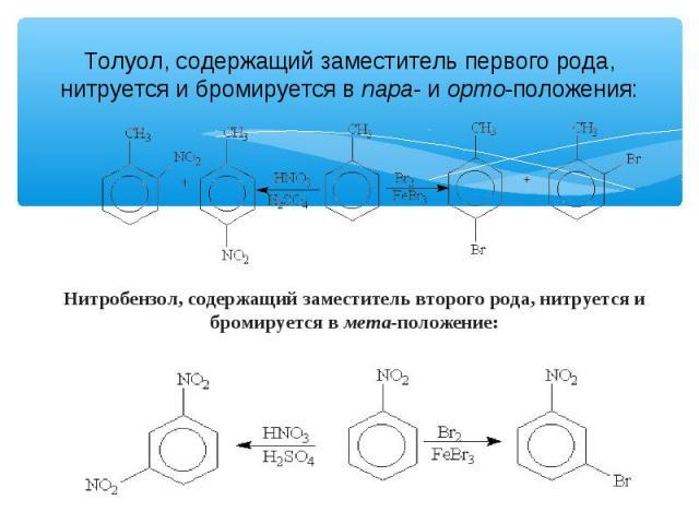 Толуол, содержащий заместитель первого рода, нитруется и бромируется в пара- и орто-положения: Нитробензол, содержащий заместитель второго рода, нитруется и бромируется в мета-положение: