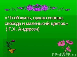« Чтоб жить, нужно солнце, свобода и маленький цветок» ( Г.Х. Андерсен)