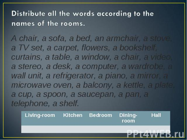 Distribute all the words according to the names of the rooms. A chair, a sofa, a bed, an armchair, a stove, a TV set, a carpet, flowers, a bookshelf, curtains, a table, a window, a chair, a video, a stereo, a desk, a computer, a wardrobe, a wall uni…