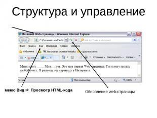 Структура и управление меню Вид Просмотр HTML-кода Обновление web-страницы