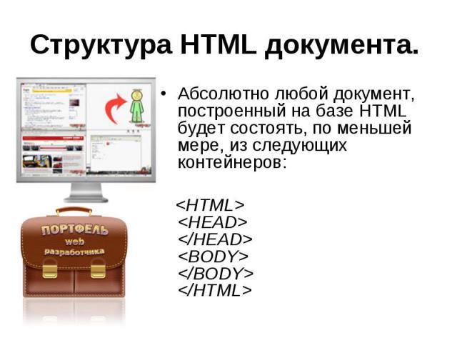 Структура HTML документа. Абсолютно любой документ, построенный на базе HTML будет состоять, по меньшей мере, из следующих контейнеров: