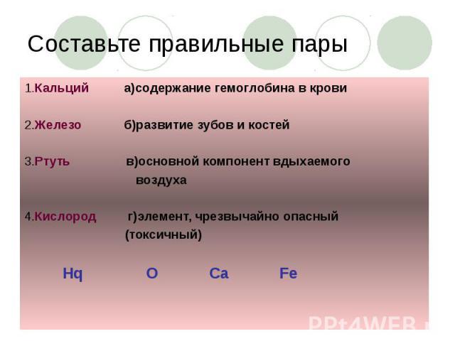 Составьте правильные пары 1.Кальций а)содержание гемоглобина в крови 2.Железо б)развитие зубов и костей 3.Ртуть в)основной компонент вдыхаемого воздуха 4.Кислород г)элемент, чрезвычайно опасный (токсичный) Hq O Ca Fe