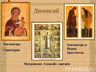 ДионисийБогоматерь Одигитрия Митрополит Алексий с житием Богоматерь и Иоанн Крес