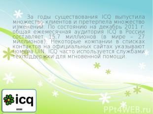 За годы существования ICQ выпустила множество клиентов и претерпела множество из