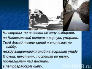 Ни страны, ни погоста не хочу выбирать, на Васильевский остров я вернусь умирать