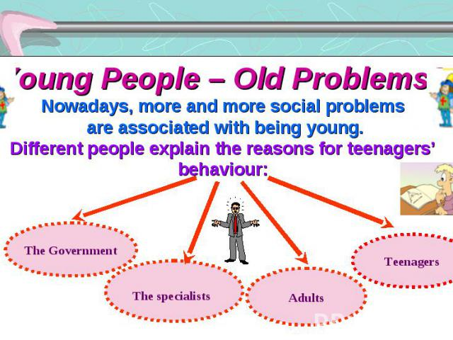 Young People – Old Problems? Nowadays, more and more social problems are associated with being young. Different people explain the reasons for teenagers' behaviour: