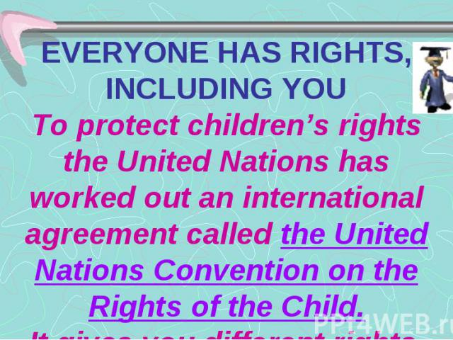 EVERYONE HAS RIGHTS, INCLUDING YOU To protect children's rights the United Nations has worked out an international agreement called the United Nations Convention on the Rights of the Child. It gives you different rights.