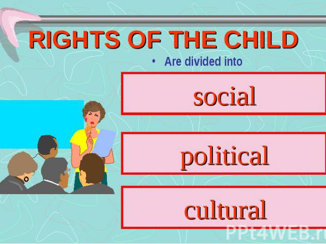 RIGHTS OF THE CHILD Are divided into social political cultural