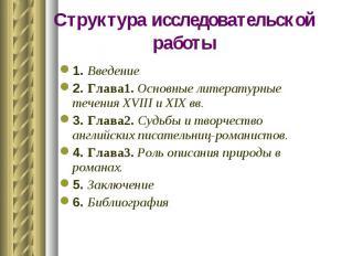Структура исследовательской работы1. Введение 2. Глава1. Основные литературные т