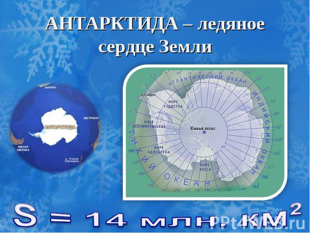 АНТАРКТИДА – ледяное сердце Земли S = 14 млн. км²