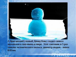 А британский ученый Девид Кокс создал самого маленького снеговика в мире. Этот с