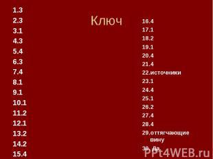 Ключ 1.3 2.3 3.1 4.3 5.4 6.3 7.4 8.1 9.1 10.1 11.2 12.1 13.2 14.2 15.4 16.4 17.1