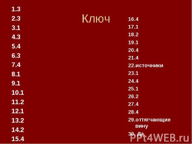 Ключ 1.3 2.3 3.1 4.3 5.4 6.3 7.4 8.1 9.1 10.1 11.2 12.1 13.2 14.2 15.4 16.4 17.1 18.2 19.1 20.4 21.4 22.источники 23.1 24.4 25.1 26.2 27.4 28.4 29.оттягчающие вину 30. Да