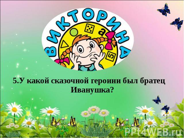 5.У какой сказочной героини был братец Иванушка?