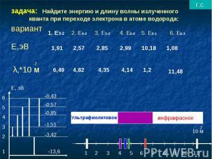 задача: Найдите энергию и длину волны излученного кванта при переходе электрона