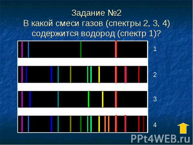 Задание №2 В какой смеси газов (спектры 2, 3, 4) содержится водород (спектр 1)?
