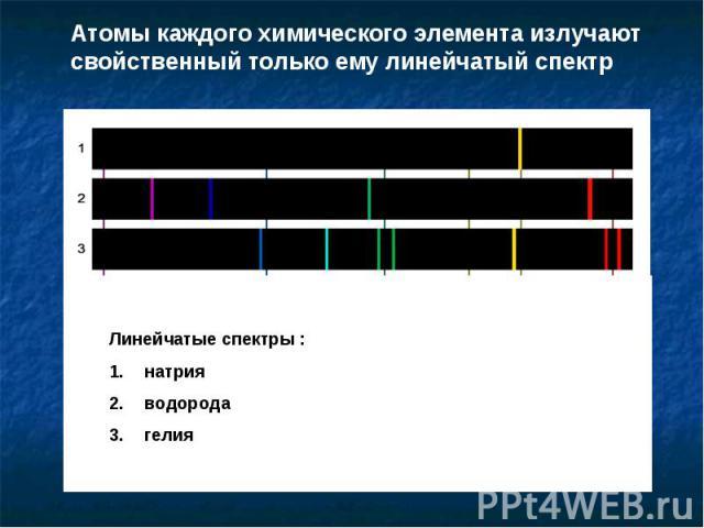 Атомы каждого химического элемента излучают свойственный только ему линейчатый спектр