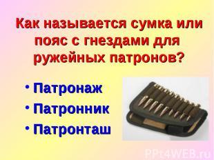 Как называется сумка или пояс с гнездами для ружейных патронов?Патронаж Патронни