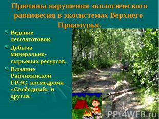 Причины нарушения экологического равновесия в экосистемах Верхнего Приамурья. Ве