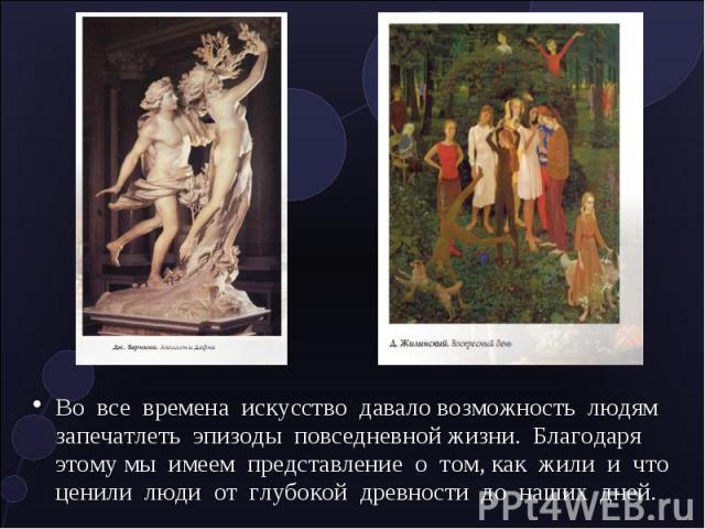 Во все времена искусство давало возможность людям запечатлеть эпизоды повседневной жизни. Благодаря этому мы имеем представление о том, как жили и что ценили люди от глубокой древности до наших дней.