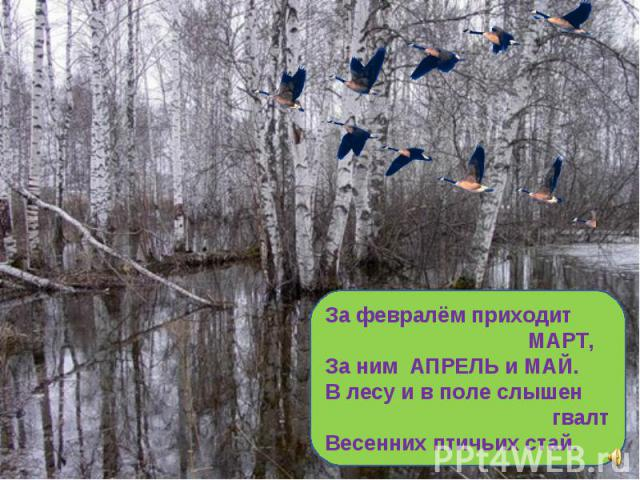 За февралём приходит МАРТ, За ним АПРЕЛЬ и МАЙ. В лесу и в поле слышен гвалт Весенних птичьих стай.