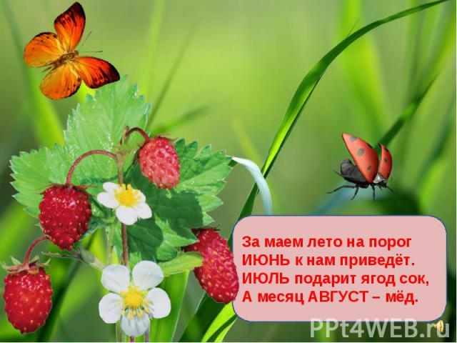 За маем лето на порог ИЮНЬ к нам приведёт. ИЮЛЬ подарит ягод сок, А месяц АВГУСТ – мёд.