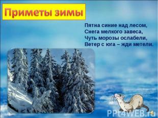 Пятна синие над лесом, Снега мелкого завеса, Чуть морозы ослабели, Ветер с юга –