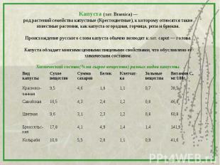 Капуста (лат.Brassica)— род растений семейства капустные (Крестоцветные), к ко