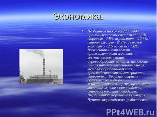 Экономика. По даннымна конец 2006 года промышленность составила 36,6%, торговля
