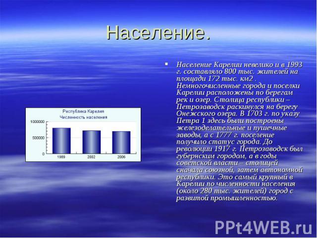 Население. Население Карелии невелико и в 1993 г. составляло 800 тыс. жителей на площади 172 тыс. км2 . Немногочисленные города и поселки Карелии расположены по берегам рек и озер. Столица республики – Петрозаводск раскинулся на берегу Онежского озе…