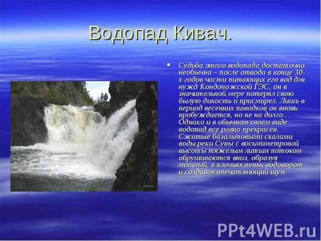 Водопад Кивач. Судьба этого водопада достаточно необычна – после отвода в конце 30-х годов части питающих его вод для нужд Кондопожской ГЭС, он в значительной мере потерял свою былую дикость и присмирел. Лишь в период весенних паводков он вновь проб…