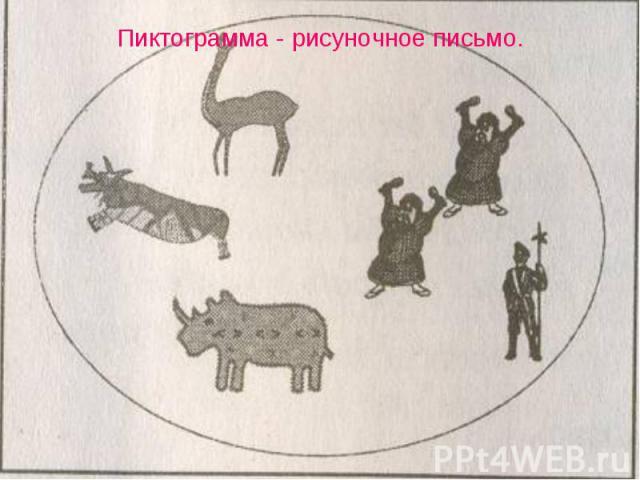 Пиктограмма - рисуночное письмо.