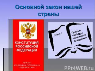 Основной закон нашей страны Права и свободы человека и гражданина