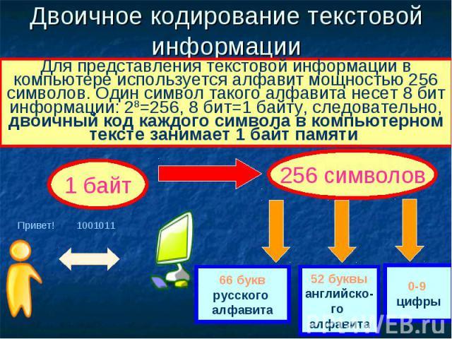 Двоичное кодирование текстовой информации Для представления текстовой информации в компьютере используется алфавит мощностью 256 символов. Один символ такого алфавита несет 8 бит информации: 28=256, 8 бит=1 байту, следовательно, двоичный код каждого…