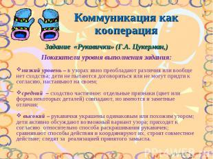 Коммуникация как кооперация Задание «Рукавички» (Г.А. Цукерман,) Показатели уров