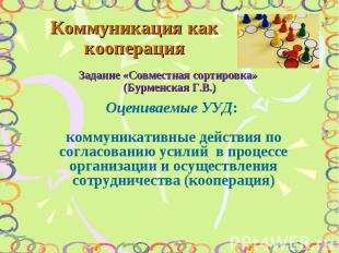 Коммуникация как кооперация Задание «Совместная сортировка» (Бурменская Г.В.) Оц