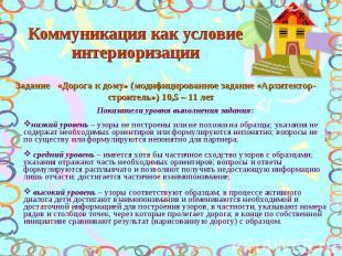 Коммуникация как условие интериоризации Задание «Дорога к дому» (модифицированно