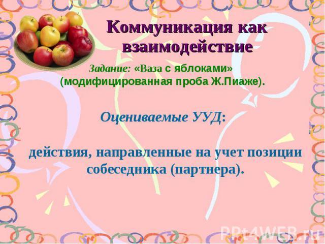 Коммуникация как взаимодействие Задание: «Ваза с яблоками» (модифицированная проба Ж.Пиаже). Оцениваемые УУД: действия, направленные на учет позиции собеседника (партнера).