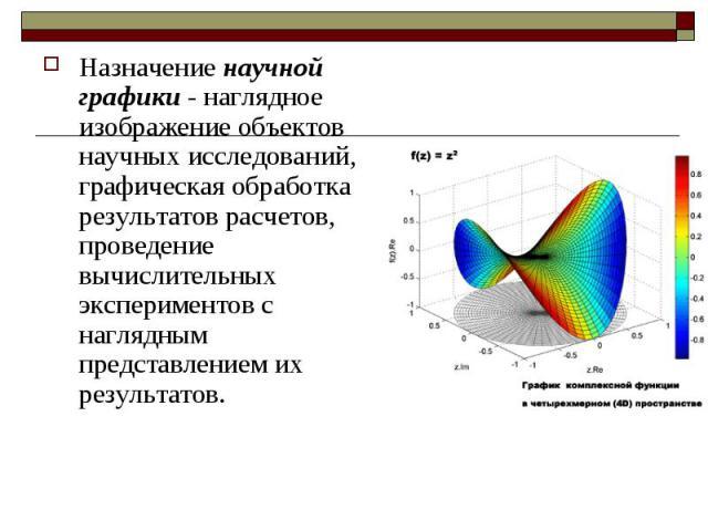 Назначение научной графики - наглядное изображение объектов научных исследований, графическая обработка результатов расчетов, проведение вычислительных экспериментов с наглядным представлением их результатов.
