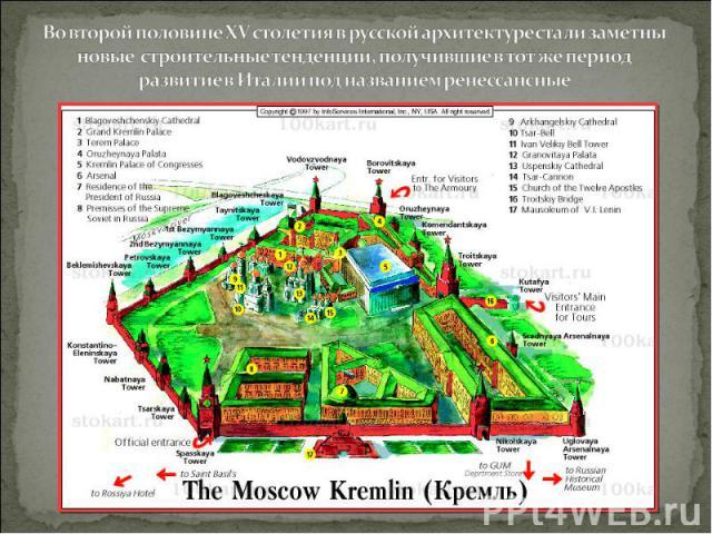 Во второй половине XV столетия в русской архитектуре стали заметны новые строительные тенденции, получившие в тот же период развитие в Италии под названием ренессансные